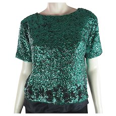 1960's Emerald Green Sequined And Black Beaded Top