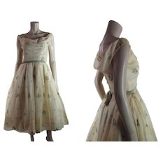Lovely 1950's Vintage Ceil Chapman Embroidered Organdy Party Or Cocktail Dress