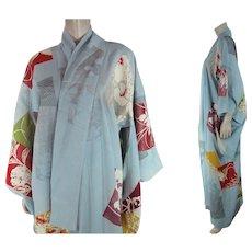 Vintage Pastel Blue Silk Crepe Three Mon Furisode Kimono - Red Tag Sale Item