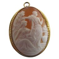 Antique Victorian Gold-Filled Cameo Pendant Brooch - The Toilette Of Venus