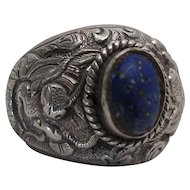 Antique Chinese Carved Sterling Silver And Lapis Lazuli Dragon Ring