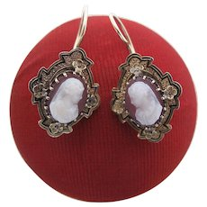 Antique Victorian 10K Gold Hard Stone Cameo Kidney Wire Earrings
