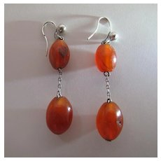 Vintage Stering Silver And Natural Carnelian Double-Drop Earrings For Pierced Ears