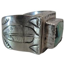 Vintage Navajo Carved Sterling Silver And Turquoise Ring Size 11 - Signed