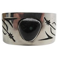 Vintage Navajo Emerson Thompson Silver Overlay Cuff Bracelet With Obsidian