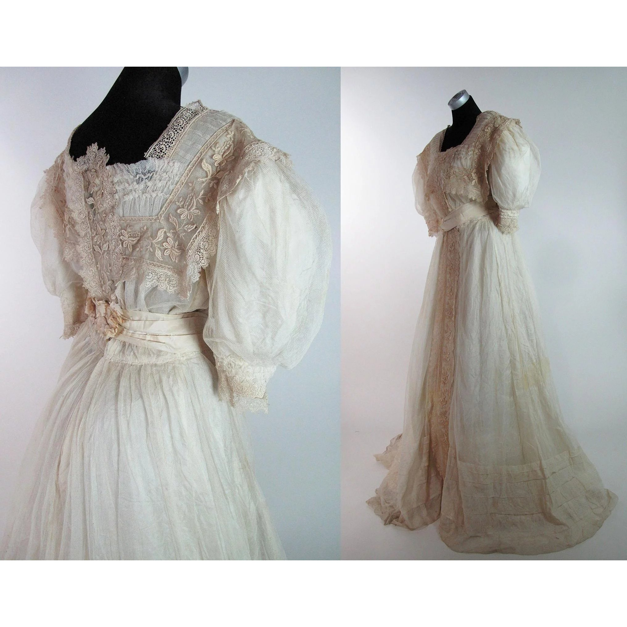 9b64807e2d1 Frothy Edwardian Belle Epoque Gown With Train   Marzilli Vintage ...