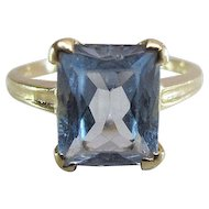 Vintage 14K Yellow Gold Radiant Cut 3.5 Carat Swiss Blue Topaz Ring
