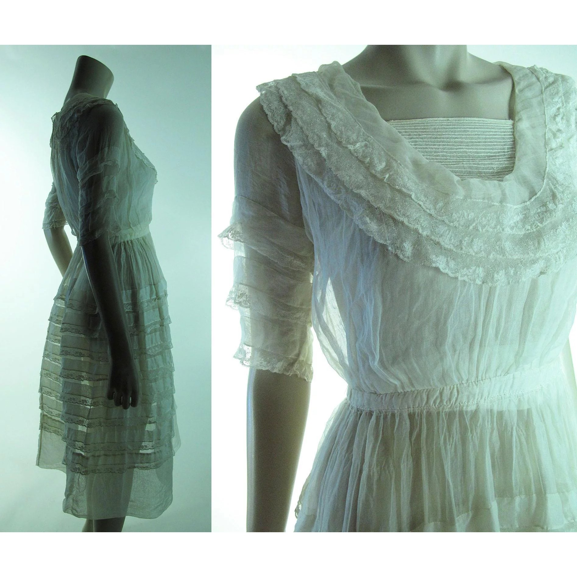 68dce5f190c Pretty Antique Teens   Edwardian Organza And Lace Dress   Marzilli Vintage