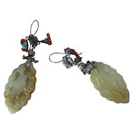 Vintage Carved Mutton Fat Nephrite Jade Coral And Turquoise Dangle Earrings For Pierced Ears