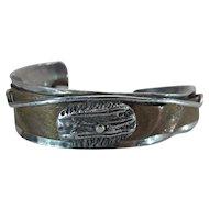 Vintage Hammered Sterling Silver And Copper Modernist Cuff Bracelet Bracelet Signed De Robertis Mind Made