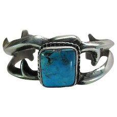 Vintage Navajo Cast Silver And Turquoise Cuff Bracelet