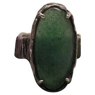Textural Vintage Hand Made Sterling Silver Ring With Large Aventurine Cabochon