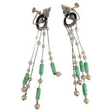 Drippy 3 1/2-Inch Long Art Deco Era Silver & Gold Fringe Earrings Paste & Pearls
