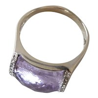 Vintage 14K White Gold Diamond & Rose Cut Rose De France Amethyst Saddle Ring