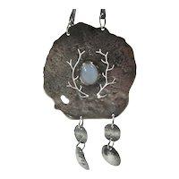 Imaginative Mid Century Modernist Sterling Silver Studio Necklace W/ Moonstone