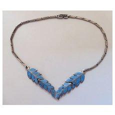 Vintage Mid-Century Retro Era Enameled Sterling Silver Leaf Necklace