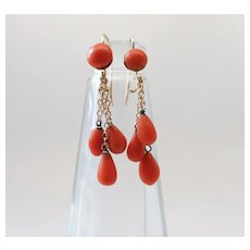Antique Victorian 14K Gold Red Coral Button & Drop Kidney Wire Fringe Earrings