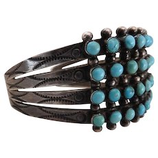 Vintage Zuni Native American Four Row Silver & Snake Eye Turquoise Cuff Bracelet