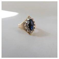 Vintage 14K Gold 1.5 Carat Marquise Sapphire & .50 Carat Diamond Halo Ring