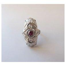 Antique Signed Belais 18K White Gold Diamond & Ruby Art Deco Ring