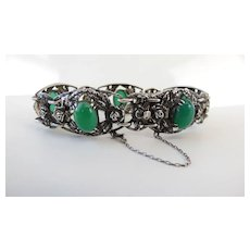 Art Deco Sterling Silver Rose Bracelet With Chrysoprase Cabochons