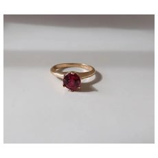 Antique Ostby & Barton 1 Carat Hot Pink Created Sapphire Solitaire Ring