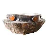 1970's Scandinavian Modernist Hammered 835 Silver Bangle Bracelet With Amber