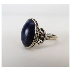 Victorian Sterling Silver Lapis Ring W/ Beautiful Silver Work & Adjustable Shank
