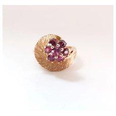 Vintage Retro Era 14K Yellow Gold & .75 Carat Natural Ruby Cluster Ring
