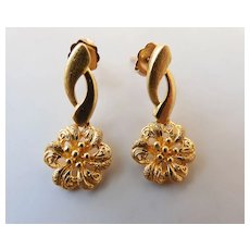 Vintage 14k Yellow Gold One Inch Long Rosette Post Earrings