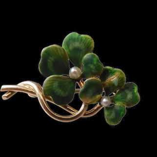 Antique Iridescent Enameled 14k Gold Double Four Leaf Clover Pin Bates & Klinke