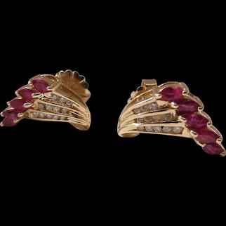 Retro Era 14K Gold Ruby & Diamond Post Earrings 1.85 Carats Gemstones 7.3 Grams