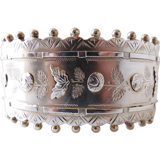 Antique Circa 1880 Victorian Engraved Silver Hinged Bangle Bracelet W Rose Motif