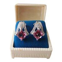 Vintage 14K White Gold Diamond & Hot Pink Sapphire Omega Back Post Earrings