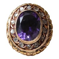 Antique Victorian 18K Gold Amethyst & Rose Cut Diamond Halo Cluster Poison Ring