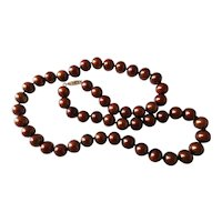 Vintage 14K Gold 9-mm Cultured Coppery Chocolate Pearl Necklace 20+ Inches Long