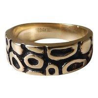 Enameled 14k Yellow Gold Mid-Century Modernist Ring W/ Amorphic Design 5.1 Grams