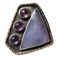 Superbly Designed Modernist Silver Ring With Chalcedony, Amethyst & Enameling