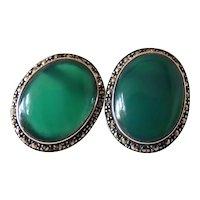 Antique Art Deco Sterling Silver 8.27 Carat (Each) Chrysoprase Stud Earrings