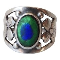 Antique Arts & Crafts Sterling Silver Peacock Eye Ring