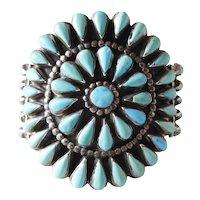 Fine Mid Century Vintage Navajo Needlepoint Turquoise Cluster Bracelet 92 Grams