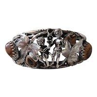 Romantic Art Deco Era Sterling Silver & 10 Carat Boulder Opal Cuff Bracelet