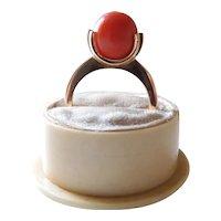 Vintage 21K Gold 7.25 Carat Natural Mediterranean Coral Sphere Spinner Ring