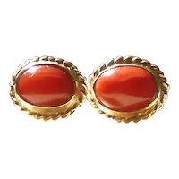 Vintage 14K Gold .83 Carat Each Natural Mediterranean Coral Stud Earrings