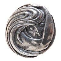Outstanding Antique Figural Art Nouveau 800 Silver Brooch / Pin