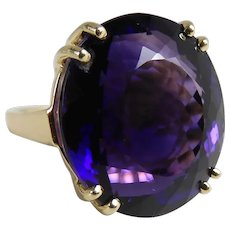 Vintage 14K Yellow Gold Cocktail Ring With Fine 17.09 Carat Natural Amethyst
