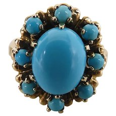 Vintage Mid-Century 14K Yellow Gold Natural Persian Turquoise Halo Cluster Ring