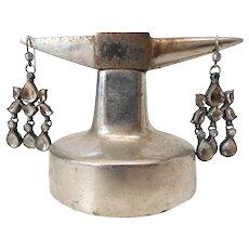 Antique Enameled Indian Kundan Earrings With Polki Style Rock Crystal Gemstones