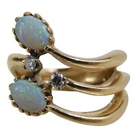 Vintage 14K Yellow Gold Mid Century Modern Opal & Diamond Cocktail Ring