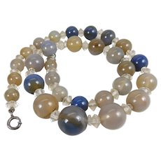Antique Blue Chalcedony Graduated Bead Necklace 16 5/8-Inches